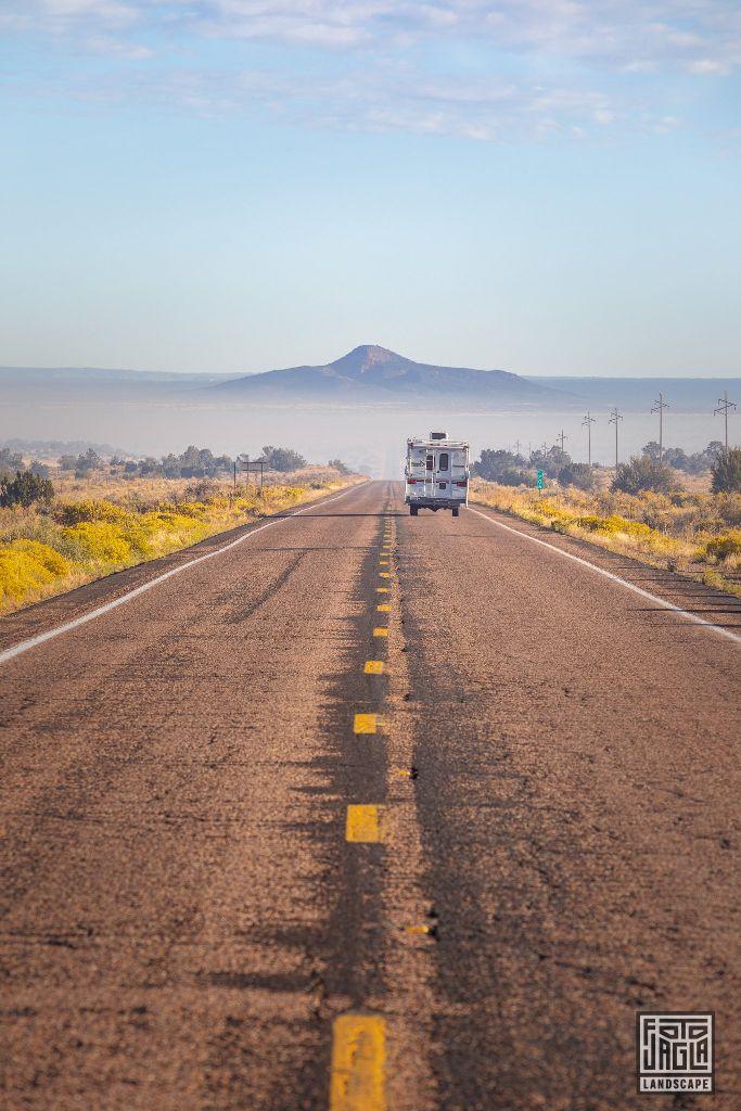 On the road AZ-64 from Williams to Grand Canyon Village Arizona, USA 2019