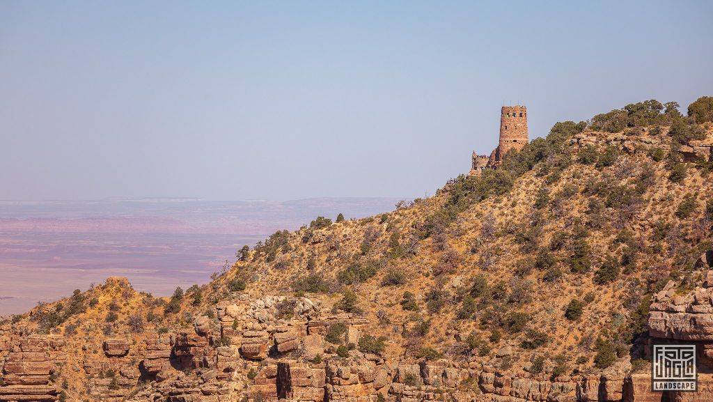 View to the Desert View Watchtower from the Navajo Point in Grand Canyon Village Arizona, USA 2019