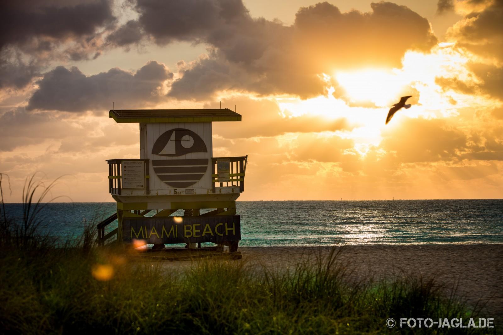 Miami, South Beach 2013. Strand bei Sonnenaufgang
