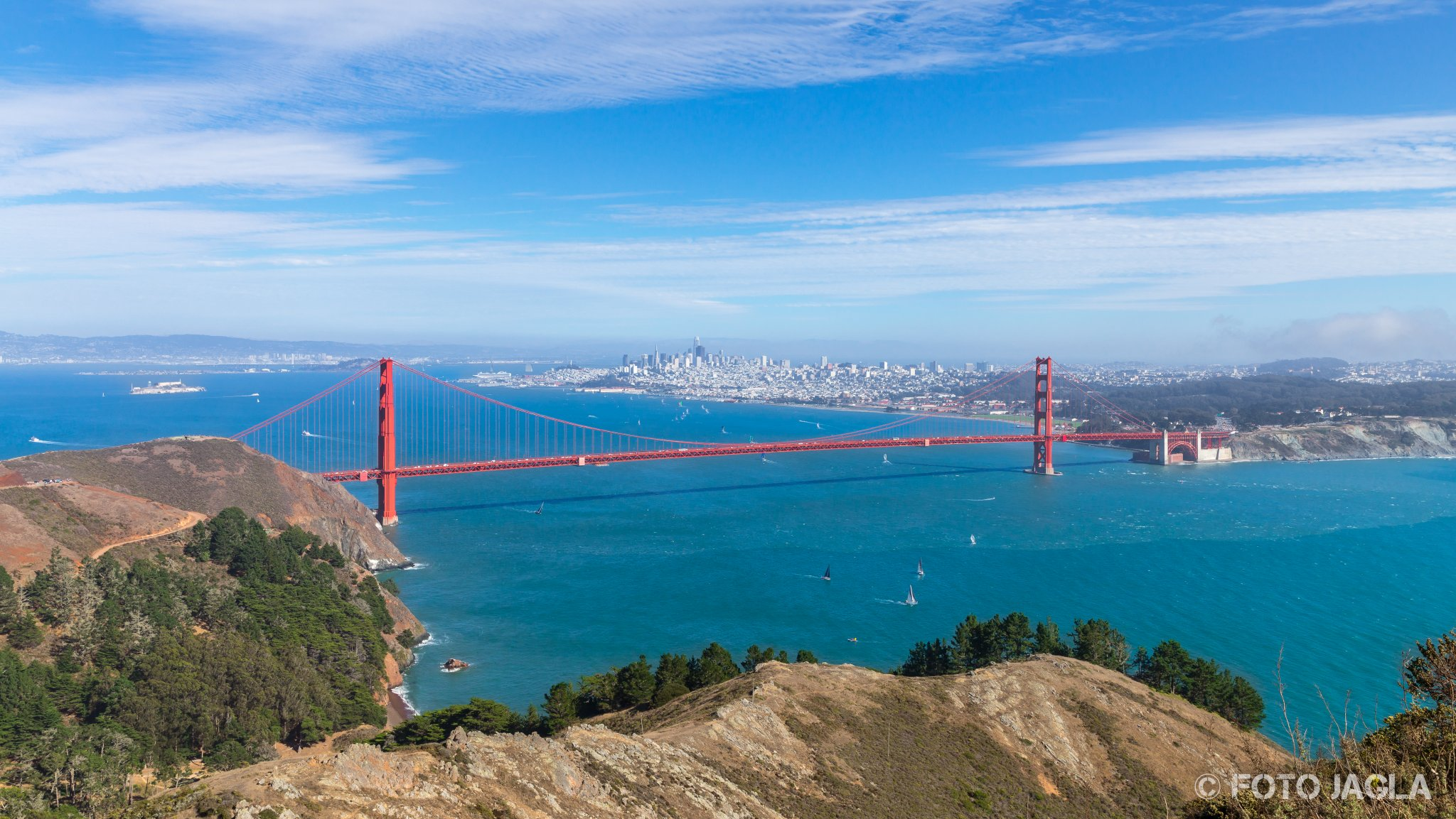 Kalifornien - September 2018 Golden Gate Bridge - Die Brücke über das goldene Tor San Francisco