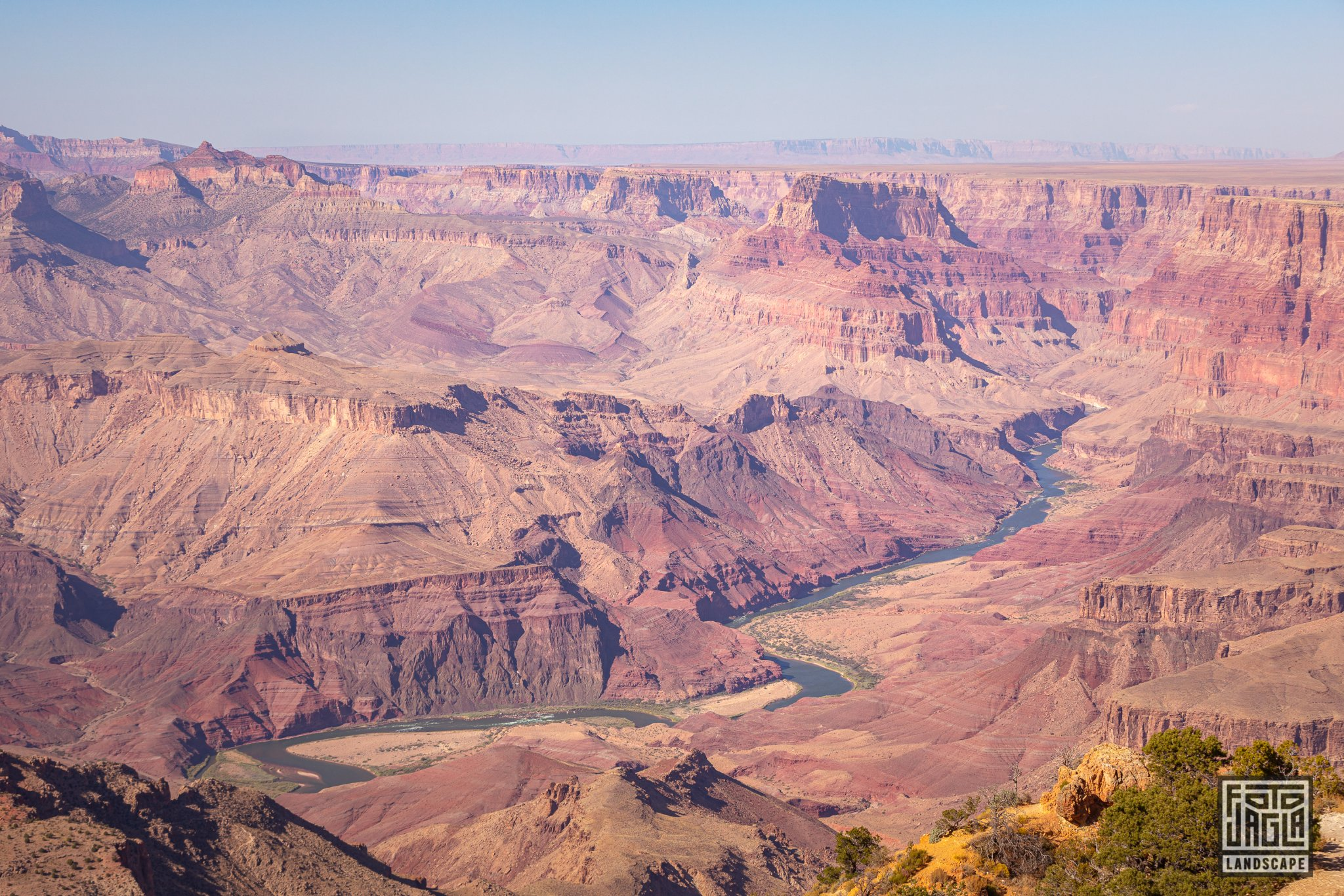 View to the Colorado River from the Desert View Watchtower in Grand Canyon Village Arizona, USA 2019