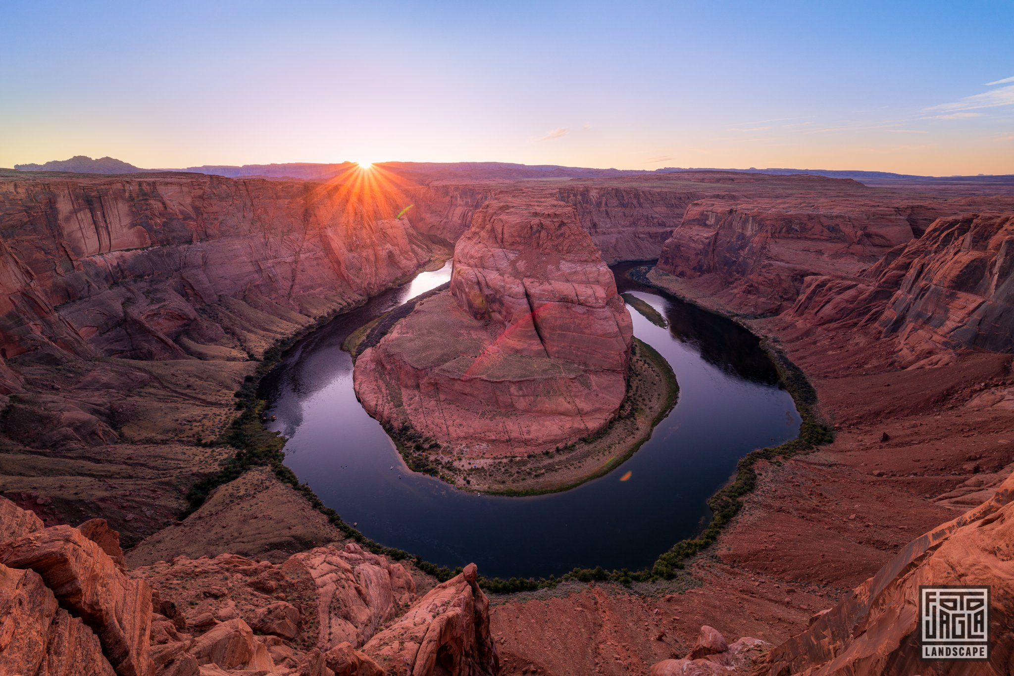 Horseshoe Bend at sunset, Page