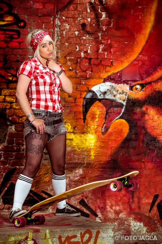 Skatergirl Shooting mit Christina de la Trouble
