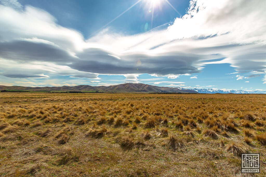 Landschaftsaufnahmen in Canterbury Neuseeland auf dem Weg zum Lake Tekapo