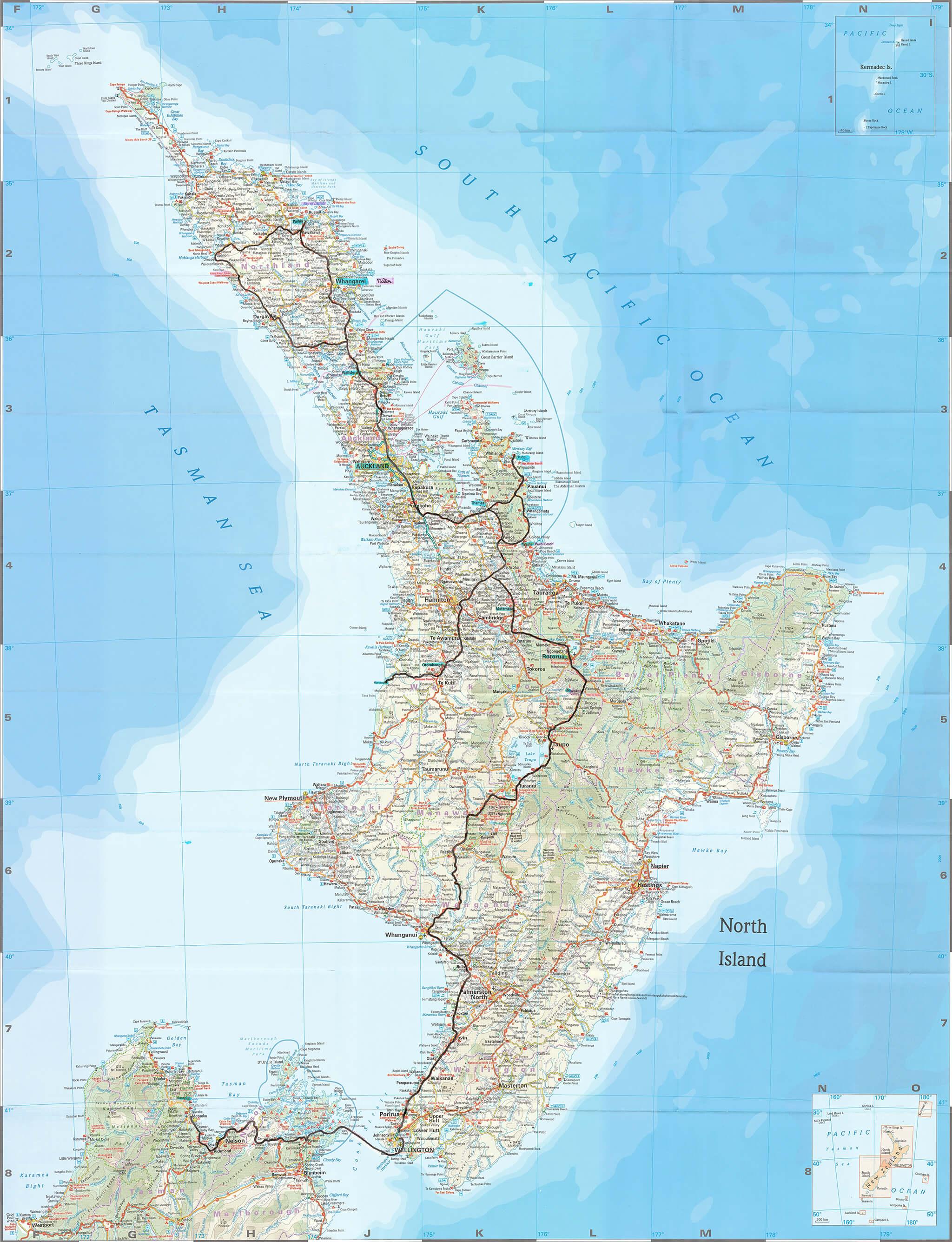 10 Tage über die Nordinsel Neuseelands - Mein Routenverlauf auf der Karte markiert