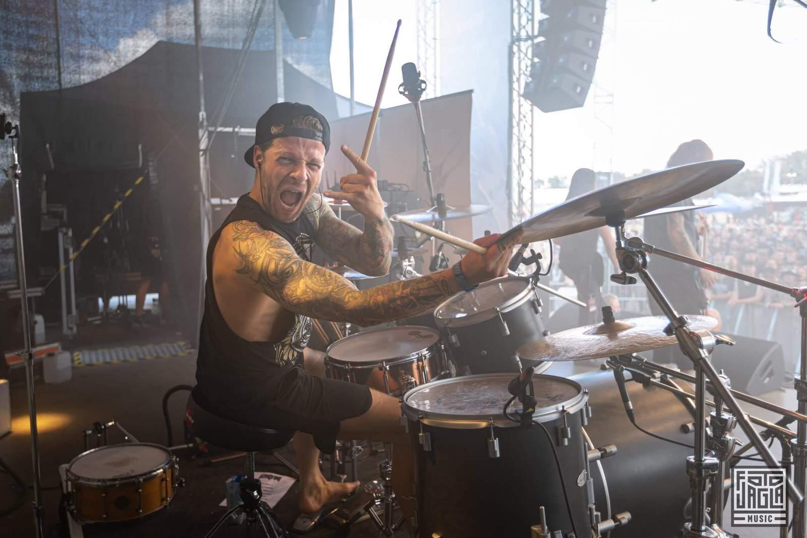 Konzertfotografie von der Bühne - Schlagzeuger fotografieren