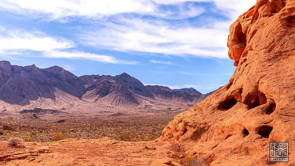 Aussicht von den Seven Sisters im Valley Of Fire State Park in Nevada