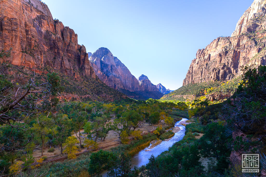 Blick über den Virgin River vom Kayenta Trail im Zion National Park in Utah